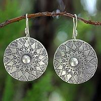Sterling silver dangle earrings, 'Lampang Moon'