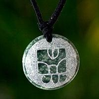 Jade pendant necklace, 'K'at Maya Net'