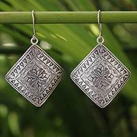 Sterling silver dangle earrings, 'Hill Tribe Flower'