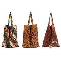 Cotton batik tote bags, 'Jawadwipa Legacy' (set of 3)