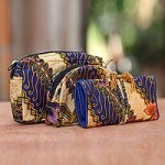 Cotton batik travel set, 'Jogjakarta Legacy' (set of 3)