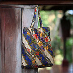 Cotton batik foldable tote bag, 'Jogjakarta Legacy'