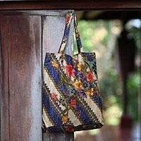 Cotton batik foldable tote bag, 'Jogjakarta Legacy'