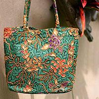 Beaded cotton batik tote bag, 'Princess Art'