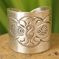 Sterling silver wrap ring, 'Live With Nature'