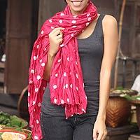 Batik scarf, 'Pink Polka Retro'