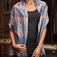 Silk scarf, 'Gray Wilderness'