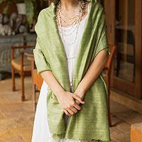 Silk shawl, 'Green Treasure'