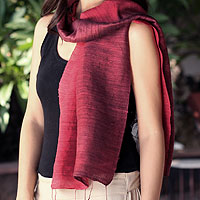 Silk scarf, 'Roses and Red Wine'