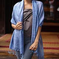 Silk shawl, 'Lavender Melody'