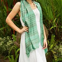 Silk shawl, 'Mint Melody'