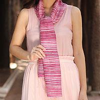 Silk batik scarf, 'Mae Nam Khong Roses'