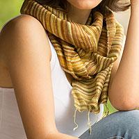 Silk batik scarf, 'Mae Nam Khong Honey'