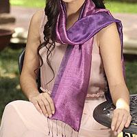 Silk batik scarf, 'Violet Duality'