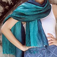 Pin tuck scarf, 'Aqua Turquoise Transition'