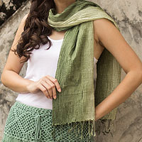 Silk pin tuck scarf, 'Olive SageTransition'
