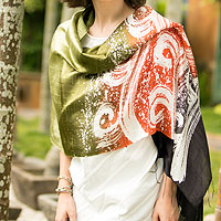 Silk batik shawl, 'Ocean Sunset'