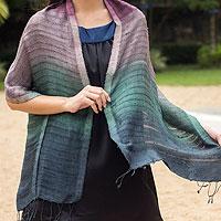 Silk scarf, 'Teal Evolution'