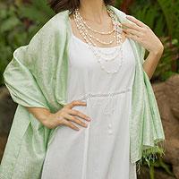 Damask shawl, 'Green Snow Blossoms'