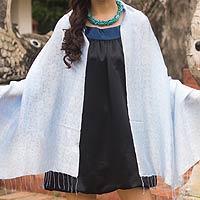 Damask shawl, 'Blue Snow Blossoms'