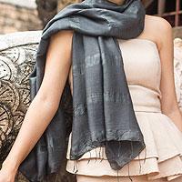Silk and cotton scarf, 'Black Harmony'