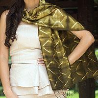 Silk scarf, 'Olive Mystique'
