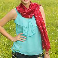 Silk scarf, 'Red Mountains'