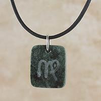 Jade pendant necklace, 'Dark Green Virgo'