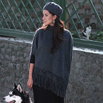 Alpaca blend poncho and hat, 'Princess Gray'