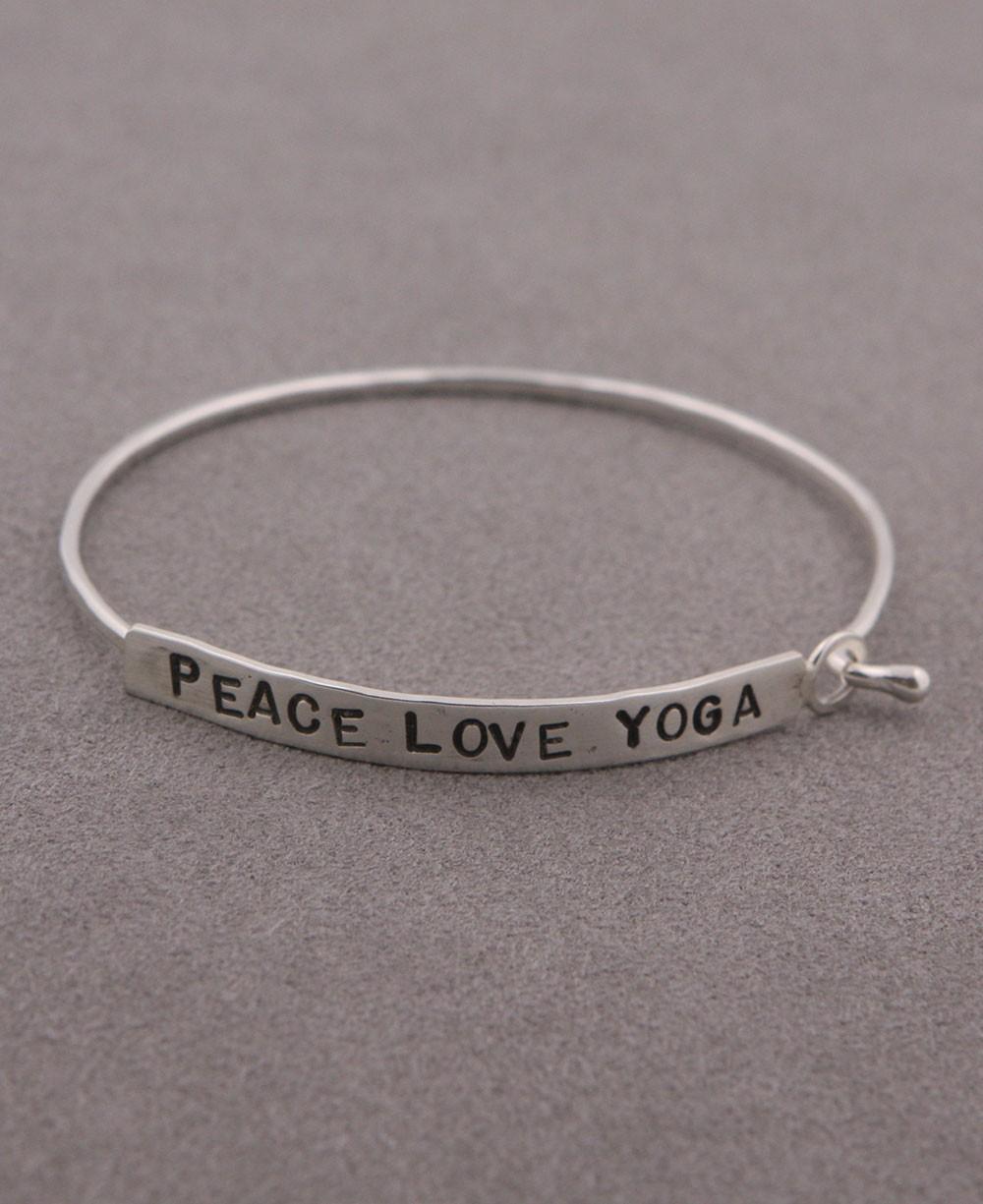Inspirational Jewelry, Peace Love Yoga Bracelet, Silver
