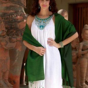 Silk and wool shawl, 'Emerald Jade'