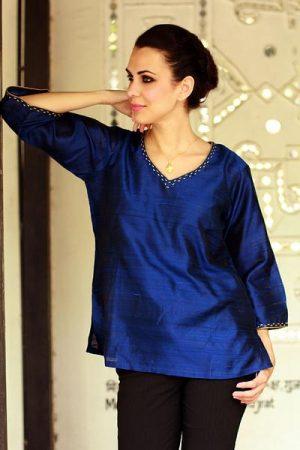 Silk tunic, 'Grand Sapphire'