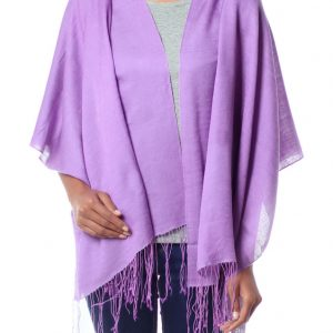Silk and wool shawl, 'Lavender Orchid'