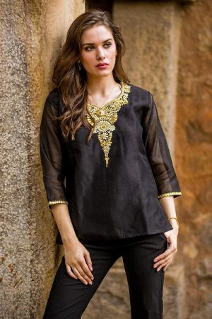 Beaded cotton and silk tunic, 'Midnight Princess'