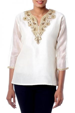 Beaded cotton and silk tunic, 'Morning Princess'