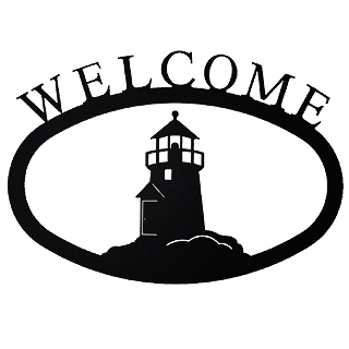Large Iron Welcome Sign - Lighthouse