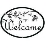 Pine Branch Script Iron Welcome Sign