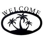 Large Iron Welcome Sign - Palm Trees