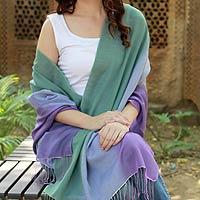 Silk and wool shawl, 'Iris'