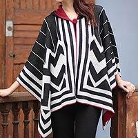 100% alpaca hooded ruana cloak, 'Peru Deco'