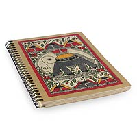 Madhubani painting journal, 'Joyful Elephant'