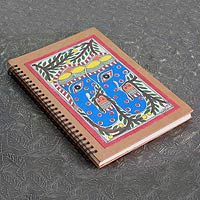 Madhubani painting journal, 'Elephant Duet'