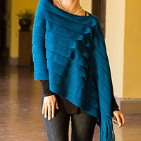 100% alpaca poncho, 'Illusions of Blue'
