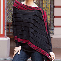 100% alpaca poncho, 'Cuzco Muse with Red'