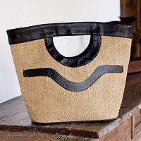 Jute handbag, 'Salvador Nature in Black'