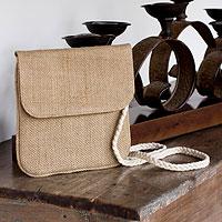 Jute shoulder bag, 'Nature's Details'