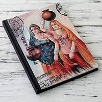 Handmade paper journal, 'Rajasthani Muses' (large)