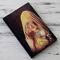 Handmade paper journal, 'Ghoonghat Muse'