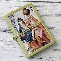 Handmade paper journal, 'Rajasthani Muses' (medium)