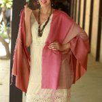 Silk and wool shawl, 'Rosy Blush'